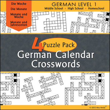 German Calendar Crossword Puzzle Pack - Months, Days of the Week and Seasons