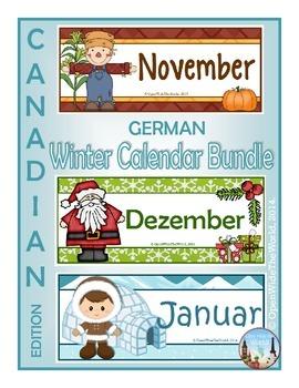 German Calendar Pocket Chart Bundle for Winter- Canadian Version