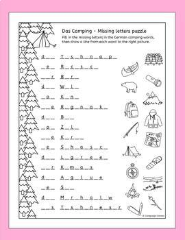 German Camping Vocabulary Puzzles