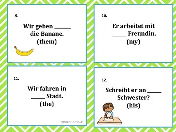 German Cases Task Cards for Dative and Accusative Case Declension Practice