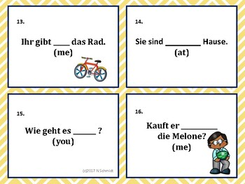Accusative and Dative: German Task Cards for Case Declension Practice