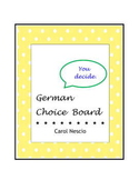 Ein Auswahlbrett ~ German Choice Board ~ German Distance Learning