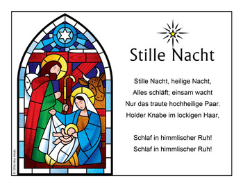 German Christmas Carol Stille Nacht Silent Night Song Coloring Page {FREEBIE}