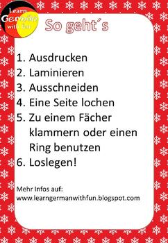German Christmas Fluency Strips- Deutsch Lesefächer Weihnachten