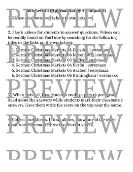 German Christmas Markets Video Worksheet- GREAT SUB LESSON!