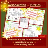German Christmas Puzzles: 4x2 differentiated word searches and crossword puzzles