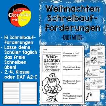 German Christmas Quick Writes- Deutsche Übungen zum schreiben üben- Weihnachten