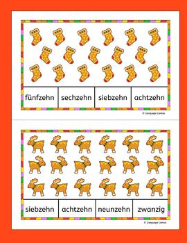 German Christmas Weihnachten Numbers Zahlen Count and Clip cards 1-20