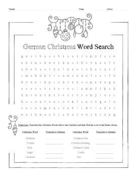 German Christmas Word Search Worksheet