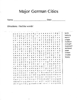 German Cities Word Search