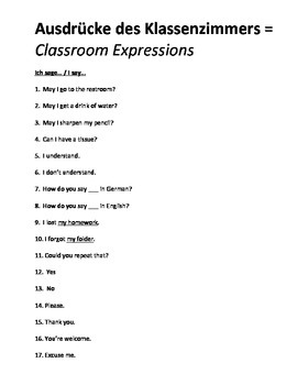 German Classroom Expressions Student Vocabulary List