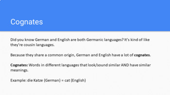 German Cognates: Intro to German 1