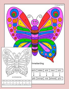 German Color by Number - fun animal pictures