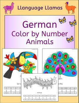 German Color by Number fun animal pictures - die Tiere