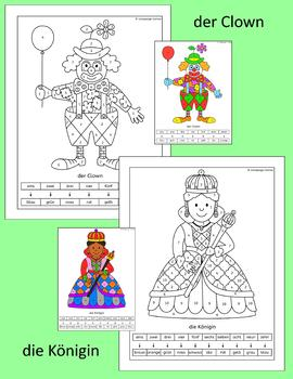 German Color by Number - fun people pictures - pirate, clown, witch and more