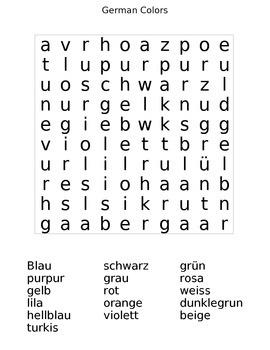 German Colors Crossword