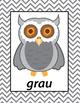 German Colors Owls Printables - Die Farben
