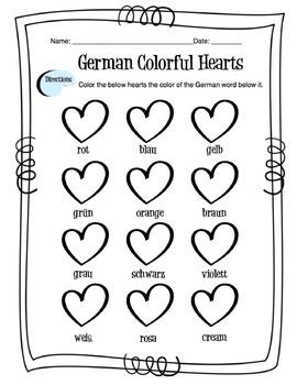 German Colors Worksheet