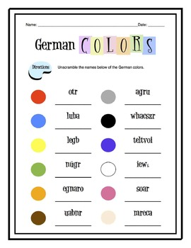 German Colors Worksheet Packet
