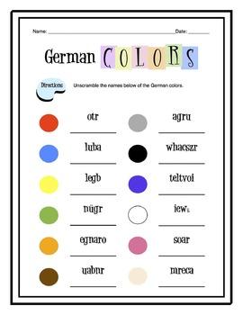 german colors worksheet packet by sunny side up resources tpt. Black Bedroom Furniture Sets. Home Design Ideas