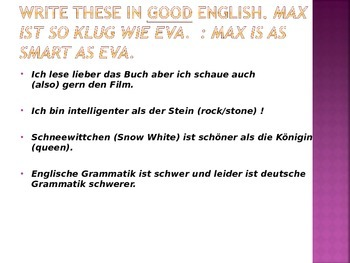 German Comparisons and Superlatives - notes and practice powerpoint