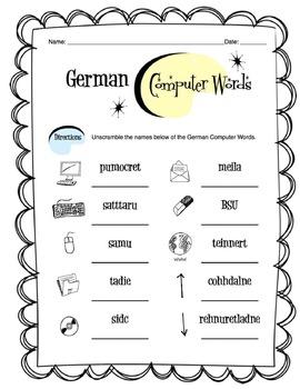 German Computer and Tech Words Worksheet Packet