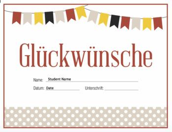 German Congratulations Certificate - Glückwünsche