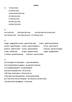 """German Cover/Supply/ Substitute Work Perfect Tense with """"haben"""""""