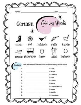 German Cowboy Western Words Worksheet Packet