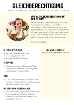 German Culture and word study: Gleichberechtigung. DAF, important German words,