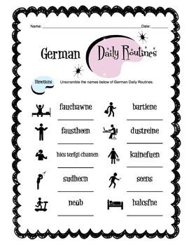 German Daily Routines Worksheet Packet