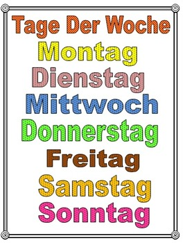 German Days Of The Week Posters