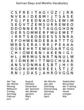 German Days and Months Vocabulary
