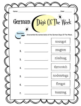 German Days of the Week Worksheet Packet