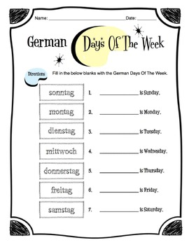 German Days of the Week Worksheet Packet by Sunny Side Up Resources