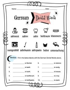German Dental Words Worksheet Packet