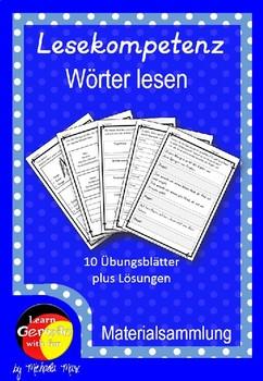 German- Deutsche Lesekompetenz fördern Arbeitsblätter - Wörter lesen