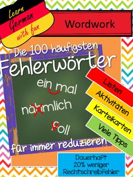German- Die häufigsten Fehlerwörter - Arbeitsblätter und Aktivitäten