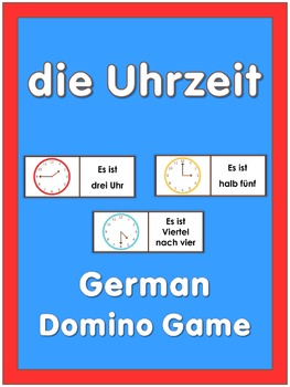 German Domino Game  Telling Time 15 Minutes Intervals