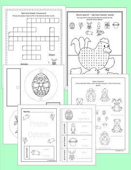 German Easter Ostern vocabulary activities and puzzles