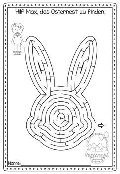 German Easter activity- 4 deutsche Osterlabyrinthe