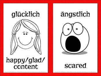 German Emotions Vocabulary Flashcards and Word Wall