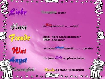 German Emotions Vocabulary-Theme: Emotions, Relationships (Niveau B1-C1)