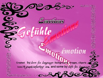 German Emotions Vocabulary-Theme: Emotions, Relationships