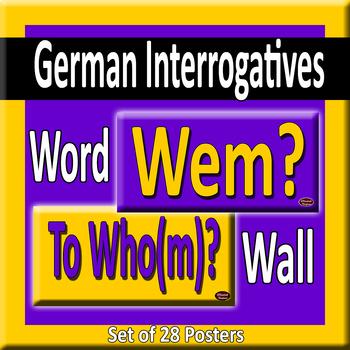 German & English Question Words/Interrogatives Word Wall