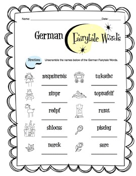 German Fairytale Words Worksheet Packet