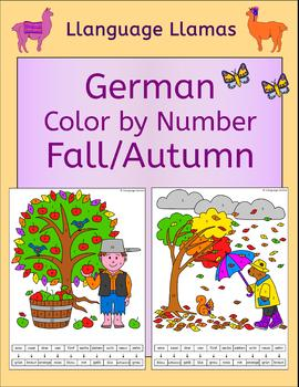 German Fall Autumn Herbst Color by Number Activity
