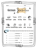 German Fast Food Items Worksheet Packet
