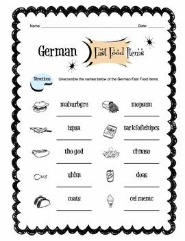 German Fast Food Items Worksheet Packet