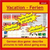 German - Ferien, vacation: dice game, pictures, descriptions